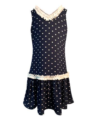 Girl's Polka-Dot Ruffle-Trim Sleeveless Dress  Size 7-14
