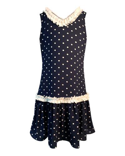 Girl's Polka-Dot Ruffle-Trim Sleeveless Dress  Size 4-6
