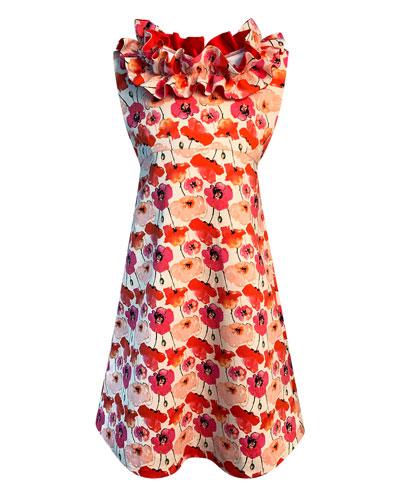 Girl's Floral-Print Ruffle-Trim Dress  Size 7-14