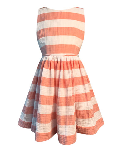Girl's Horizontal Stripe Cotton Gauze Dress  Size 7-14