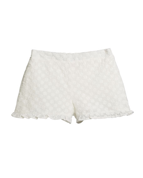 Image 1 of 1: Girl's Eyelet Cotton Shorts, Size S-XL