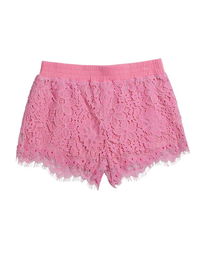 Girl's Floral Lace Shorts  Size 6X-6