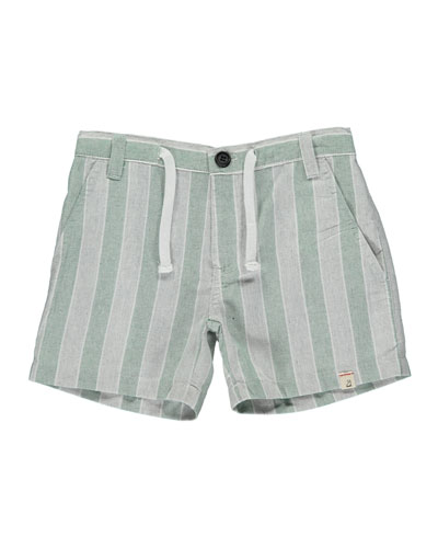 Boy's Striped Twill Shorts w/ Children's Book  Size 3T-7