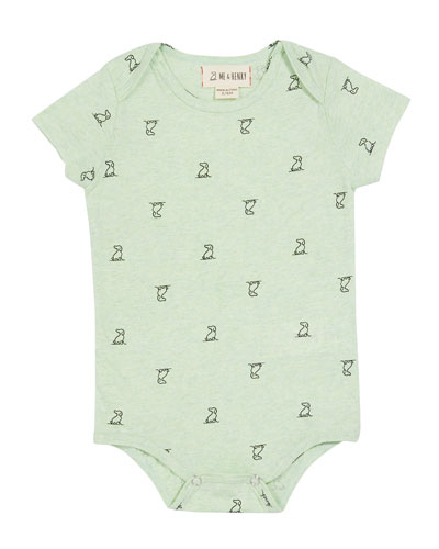 Boy's Dog-Print Bodysuit w/ Children's Book  Size 0-12 Months
