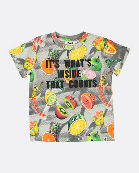 Image 1 of 1: Raymont Multicolored Fruit-Print T-Shirt, Size 4-10