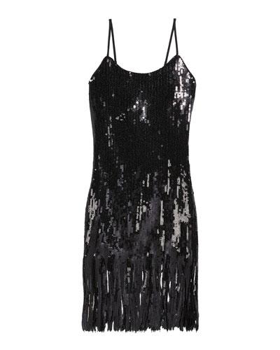 Girl's Ayleen Sequin Fringe Dress  Size 7-16