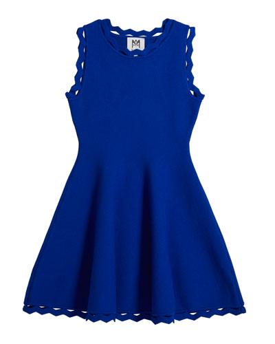 Girl's Zigzag-Trim Flare Dress  Size 7-16