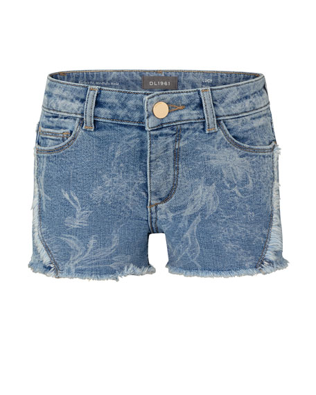 Image 1 of 1: Girl's Lucy Faded Floral Raw Edge Denim Shorts, Size 2-6