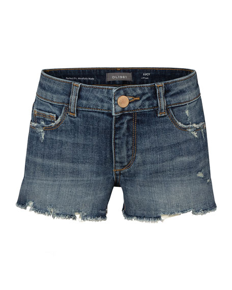 Image 1 of 1: Girl's Lucy Distressed Cutoff Denim Shorts, Size 2-6