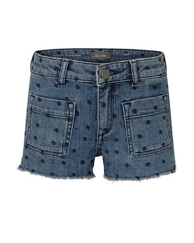 Girl's Lucy Polka Dot Denim Cut Off Shorts  Size 2-6
