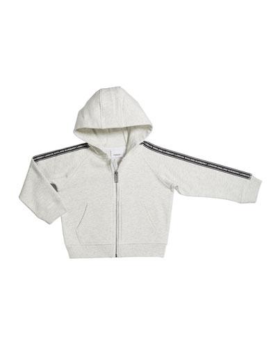 Girl's Corwyn Logo Tap Zip-Front Fleece Hoodie  Size 3-14