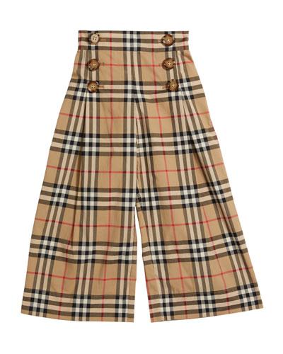 Girl's Tilda Archive Check Wide-Leg Sailor Pants  Size 3-14
