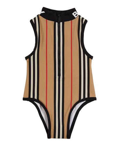 Girl's Siera Archive Stripe One-Piece Swimsuit  Size 3-14