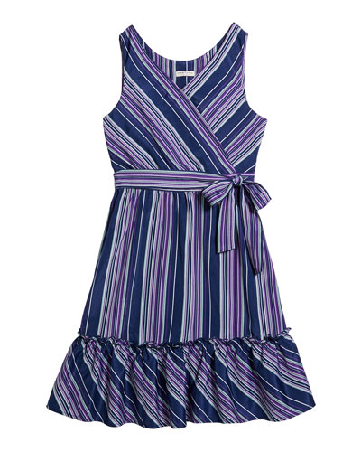 Girl's Multi-Stripe Sleeveless Dress  Size 7-14