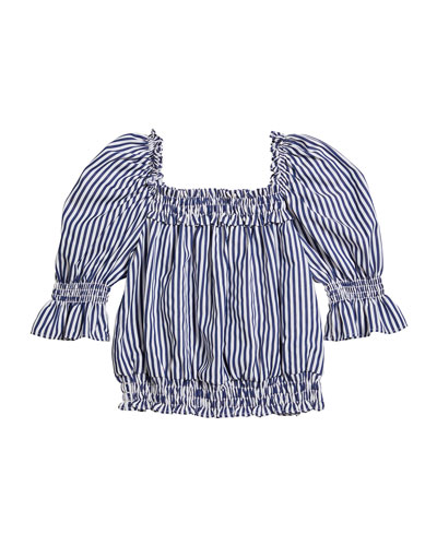 Girl's Striped Puff-Sleeve Top  Size 7-14