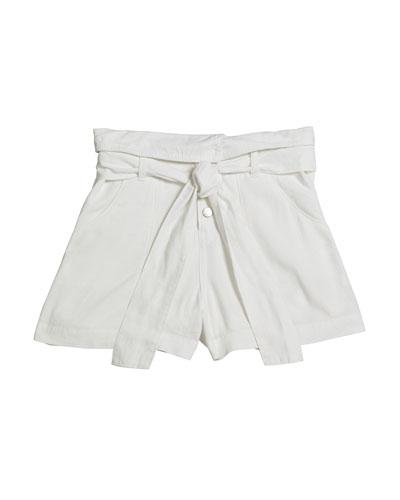 Girl's Belted High-Waist Linen-Blend Shorts  Size 7-14
