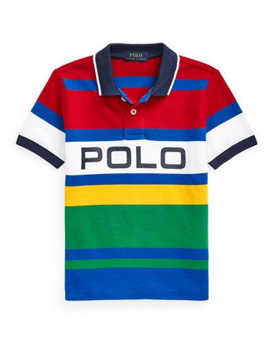 Boy's Logo Colorblock Striped Polo Shirt  Size 5-7