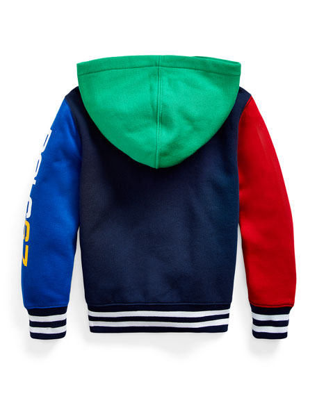 Boy's Yummy Colorblock Fleece Zip-Up Hoodie, Size 2-4