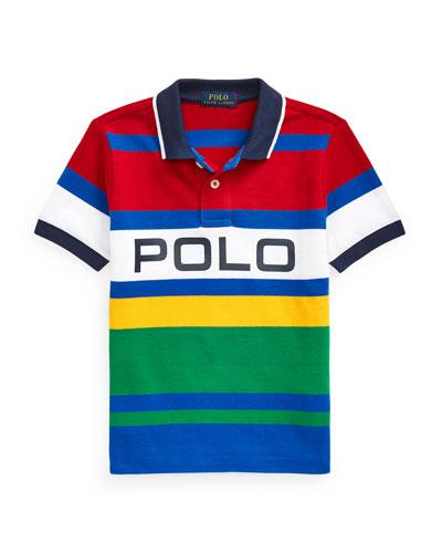 Boy's Logo Colorblock Striped Polo Shirt  Size 2-4
