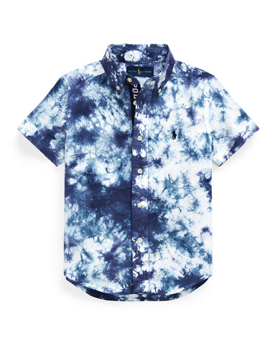 Boy's Tie Dyed Poplin Button-Down Shirt  Size 2-4