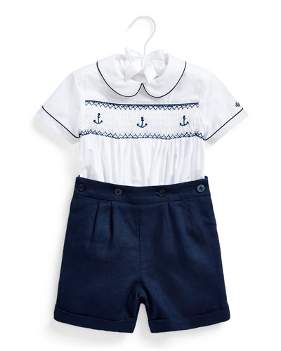 Smocked Anchors Shirt w/ Linen Shorts, Size 9-24 Months