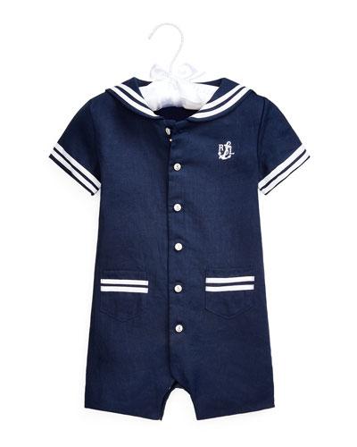 Sailor Linen Shortall  Size 3-18 Months