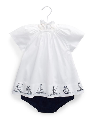 Girl's Batiste Nautical Top w/ Solid Bloomers, Size 6-24 Months