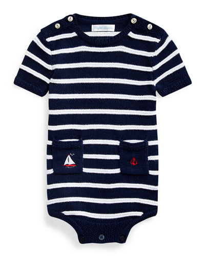 Boy's Striped Cotton Bodysuit  Size 3-12 Months