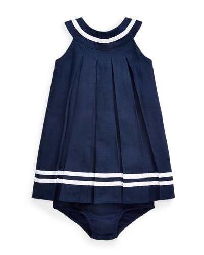Linen Pleated Dress w/ Bloomers, Size 6-24 Months