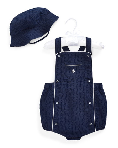 Boy's Seersucker Shortall w/ Matching Hat  Size 3-18 Months