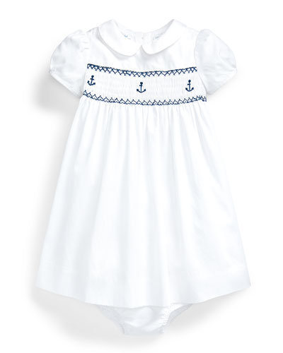 Girl's Bedford Anchor Smock Dress w/ Bloomers, Size 9-24 Months