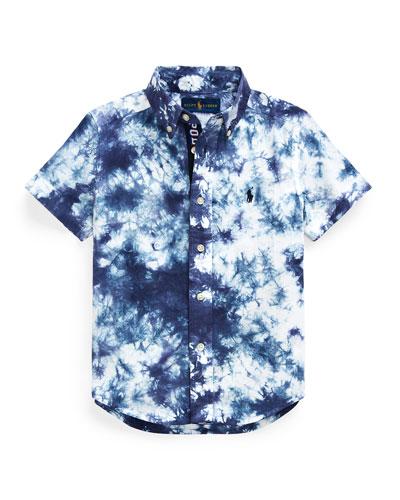Boy's Tie Dyed Poplin Button-Down Shirt  Size 5-7