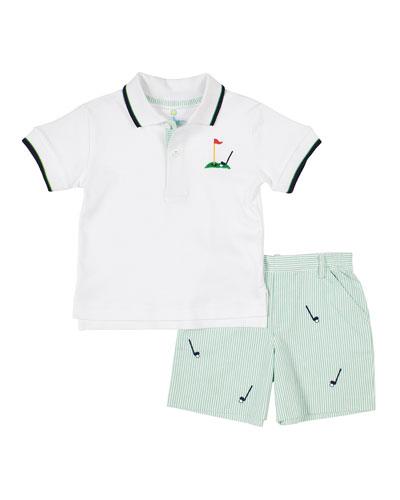 Boy's Golf Polo Top w/ Seersucker Striped Shorts  Size 2-4T