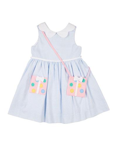 Girl's Check Pique Dress w/Present Purse  Size 2-4T
