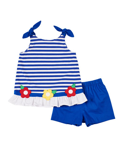 Striped Knit Flower Top w/ Solid Shorts  Size 2-6X