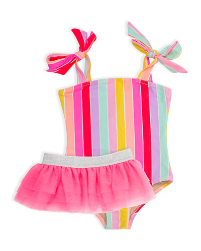 Girl's Rainbow Stripe One-Piece Swimsuit w/ Tutu  Size 2-6