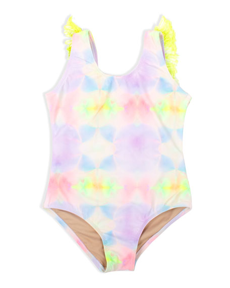 Image 1 of 1: Girl's Multi Tie Dye Fringe Back One-Piece Swimsuit, Size 2-10