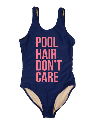 Girl's Pool Hair Don't Care One-Piece Swimsuit  Size 7-14