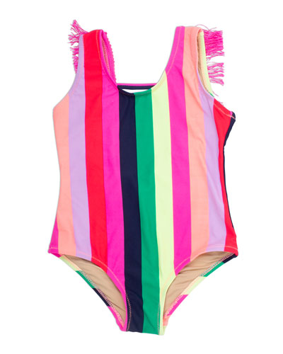 Girl's Multi Stripe Fringe-Back One-Piece Swimsuit  Size 4-14