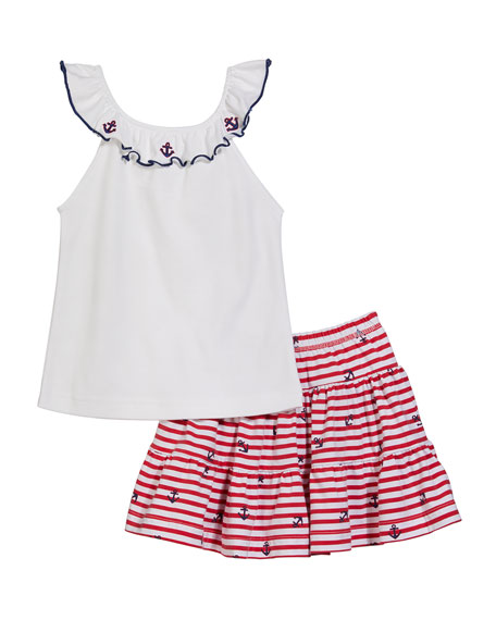 Image 1 of 1: Girl's Ruffle Neck Top w/ Stripe Tiered Ruffle Skort, Size 2-6X