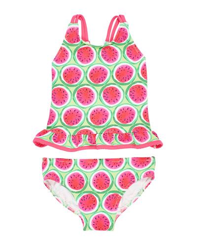 Watermelon-Print Tankini Set  Size 2-6X