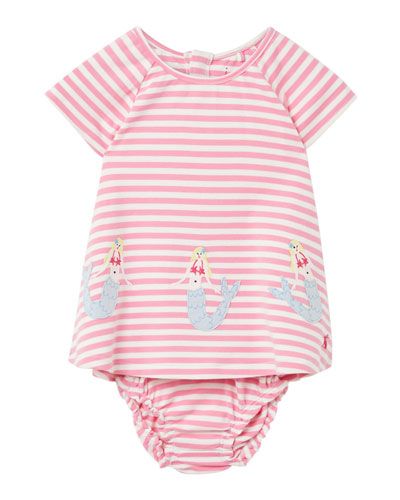 Girl's Twiggy Mermaids Stripe Dress w/ Bloomers  Size 6-24 Months