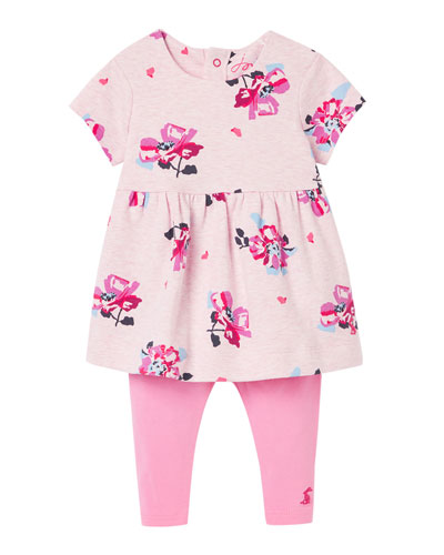 Girl's Christina Floral-Print Dress w/ Solid Leggings  Size 3-24 Months