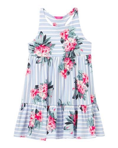 Girl's Juno Stripe Floral Racerback Dress  Size 4-10