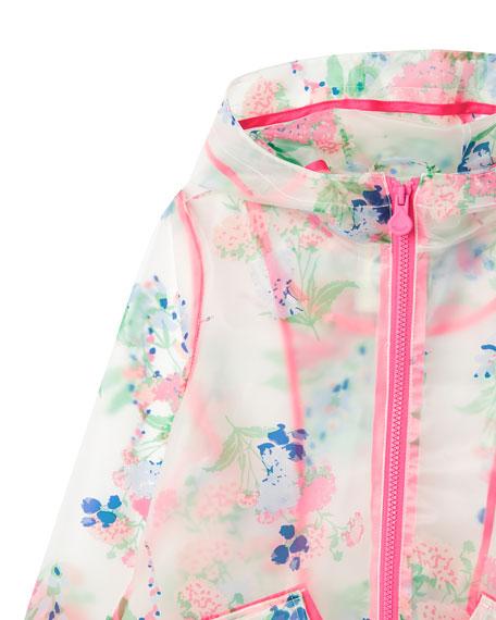 Girl's Raindance Clear Floral Print Raincoat, Size 3-10
