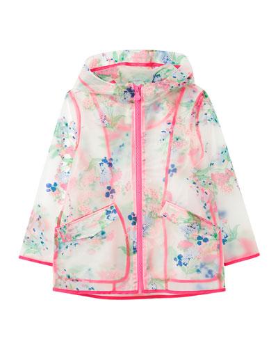 Girl's Raindance Clear Floral Print Raincoat  Size 3-10