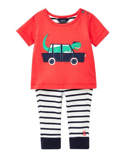 Boy's Doodle Driving Dinosaur T-Shirt w/ Striped Pants  Size 6-24 Months