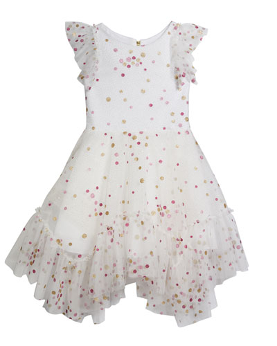 Girl's Sparkle Dot Mesh Dress, Size 7-16