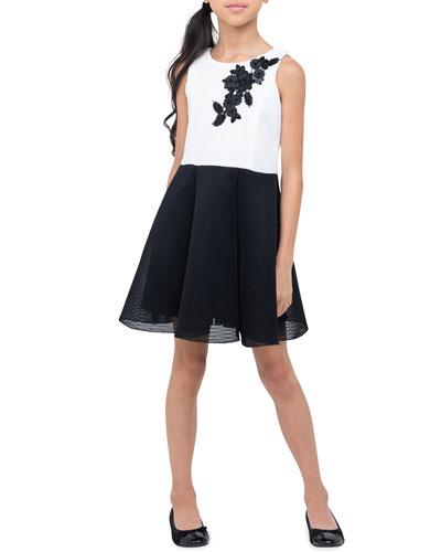 Girl's Gemma Two-Tone Skater Flower Dress  Size 7-16