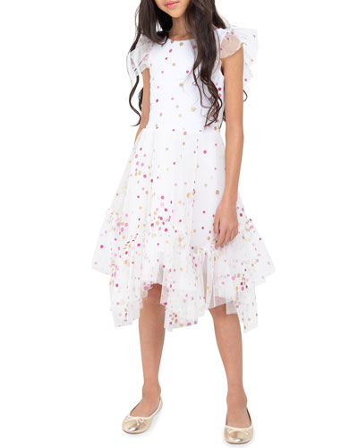 Girl's Sparkle Dot Mesh Dress  Size 4-6X